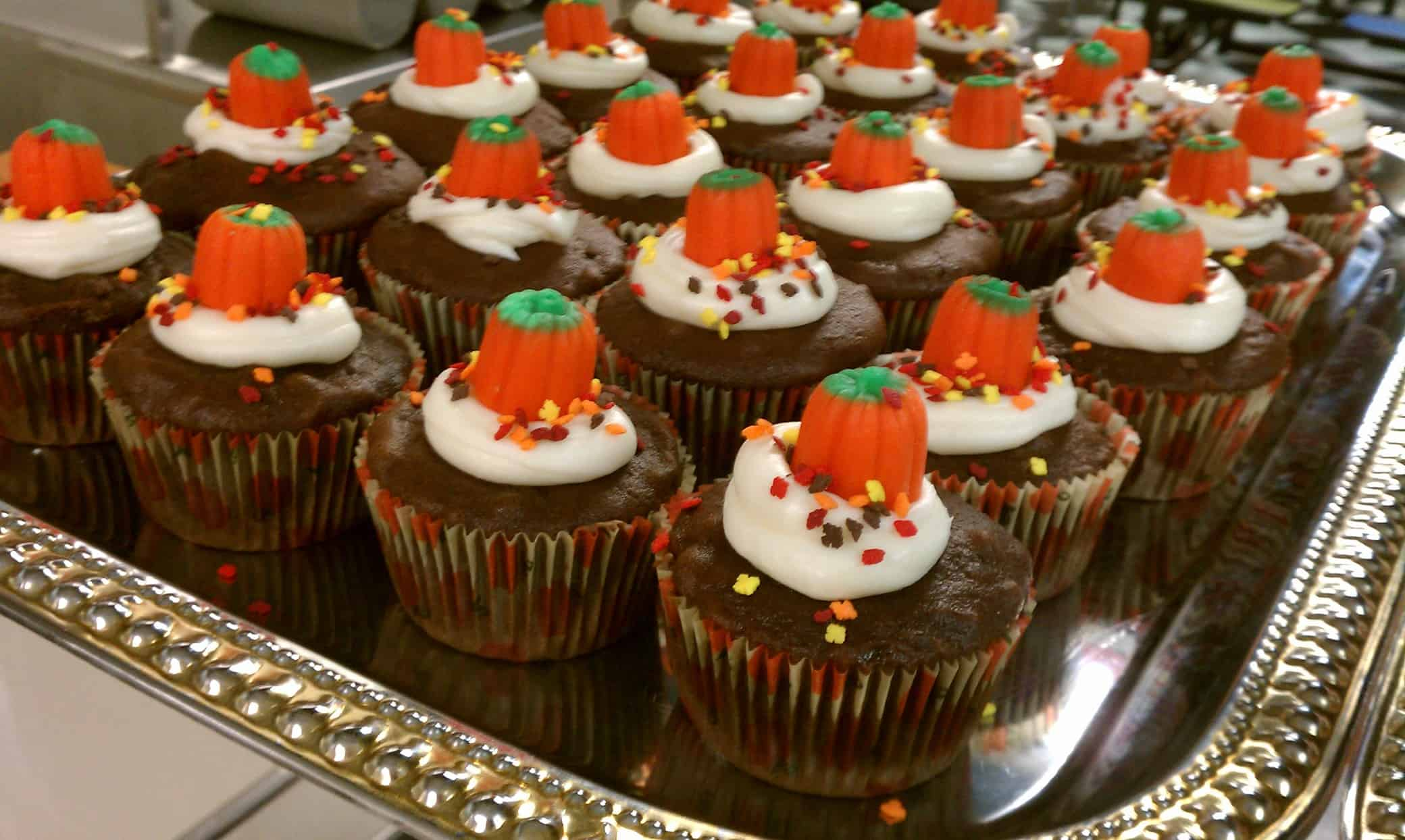 Delicious Dark Chocolate Cupcakes with Candied Pumpkins
